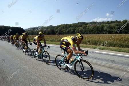 German rider Tony Martin (R) and teammates of the Team Jumbo-Visma lead the peloton during the 17th stage of the 107th edition of the Tour de France cycling race over 170 km from Grenoble to Meribel Col de la Loze, France, 16 September 2020.