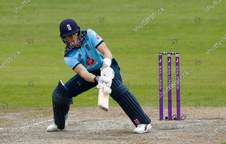 England's Sam Billings bats during the third ODI cricket match between England and Australia, at Old Trafford in Manchester, England