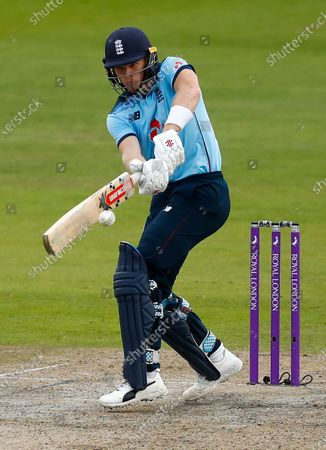 England's Sam Billings plays a shot during the third ODI cricket match between England and Australia, at Old Trafford in Manchester, England