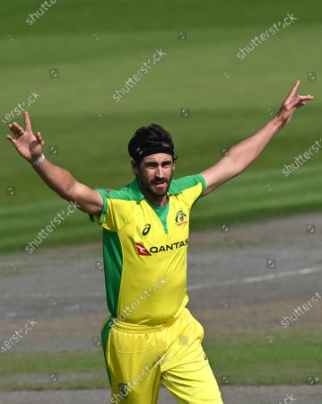 Australia's Mitchell Starc celebrates the dismissal of England's Jason Roy during the third ODI cricket match between England and Australia, at Old Trafford in Manchester, England