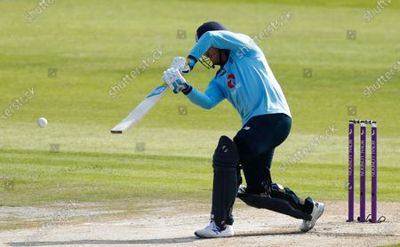 England's Jason Roy hits a shot before he is caught by Australia's Glenn Maxwell on the first ball during the third ODI cricket match between England and Australia, at Old Trafford in Manchester, England