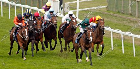 Stock Photo of MAJESTIC NOOR (Hollie Doyle) beats BLACK LOTUS (left) in The EBF Stallions John Musker Fillies Stakes Yarmouth