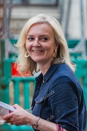 Elizabeth (Liz) Truss, Secretary of State for International Trade and President of the Board of Trade leaves a Westminster Pret after getting her lunch.