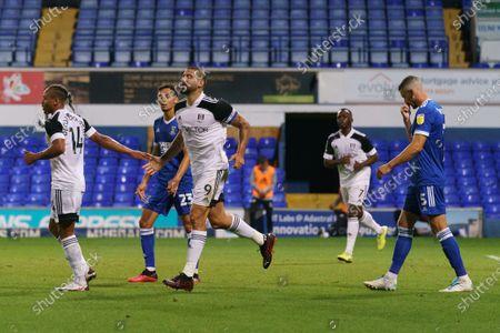 Aleksandar Mitrovic of Fulham celebrates his goal with team-mate Bobby Decordova-Reid of Fulham, 0-1
