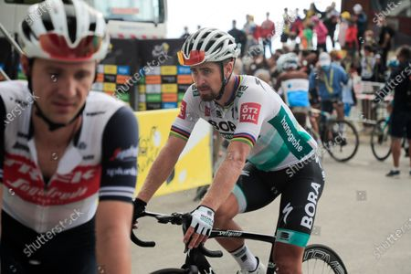 Slovakia's Peter Sagan crosses the finish line of stage 17 of the Tour de France cycling race over 107 kilometers (105.6 miles) from Grenoble to Meribel Col de la Loze, France