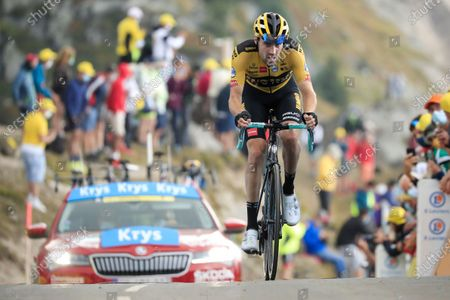 Netherland's Tom Dumoulin rides towards the finish line of stage 17 of the Tour de France cycling race over 107 kilometers (105.6 miles) from Grenoble to Meribel Col de la Loze, France