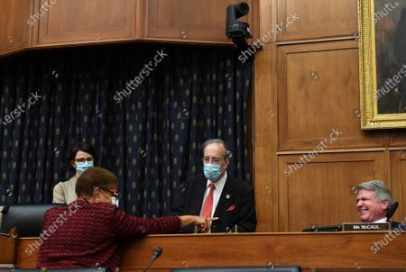 United States Representative Karen Bass (Democrat of California)., talks with US Representative Eliot Engel (Democrat of New York), Chairman, US Souse Committee on Foreign Affairs, and US Representative Michael McCaul (Republican of Texas), Ranking Member, US House Committee on Foreign Affairs, before a House Committee on Foreign Affairs hearing looking into the firing of State Department Inspector General Steven Linick, on Capitol Hill in Washington, D.C. on Wednesday, September 16, 2020.
