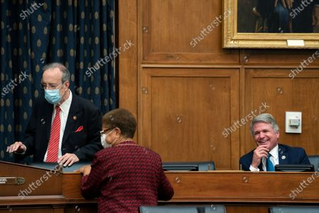 Representative Michael McCaul, a Republican from Texas and ranking member of the House Foreign Affairs Committee, right, speaks to Representative Eliot Engel, a Democrat from New York and chairman of the House Foreign Affairs Committee, left, prior to a hearing in Washington, DC, USA, on 16 September 2020. The hearing is investigating the firing of State Department Inspector General Steve Linick.