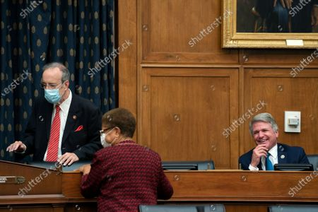 United States Representative Michael McCaul (Republican of Texas), Ranking Member, US House Committee on Foreign Affairs, right, speaks to United States Representative Eliot Engel (Democrat of New York), Chairman, US House Committee on Foreign Affairs, left, prior to a hearing in Washington, D.C., U.S.,. The hearing is investigating the firing of State Department Inspector General Steve Linick.