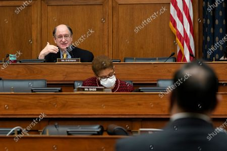 Stock Picture of United States Representative Brad Sherman (Democrat of California), left, speaks during a US House Foreign Affairs Committee hearing in Washington, D.C., U.S.,. The hearing is investigating the firing of State Department Inspector General Steve Linick.