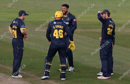 Prem Sisodiya of Glamorgan celebrate Steve Davies is stubbed by Chris Cooke.