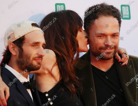 Hopper Penn, US actress Paz de la Huerta and Canadian director Michael Maxxis on the red carpet of the opening of the 27th Oldenburg International Film Festival (Filmfest Oldenburg) in Oldenburg, northern Germany, 16 September 2020. The festival opens with the movie Puppy Love' by director Michael Maxxis.