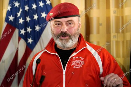 Anti-crime activist, Guardian Angels founder, radio talk show host, and New York City 2021 mayoral candidate Curtis Sliwa speaks at a press conference held at the Women's Republican Club, in New York