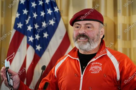 New York City mayoral candidate, Guardian Angels founder, and radio talk show host Curtis Sliwa speaks at a press conference held at the Women's Republican Club, in New York