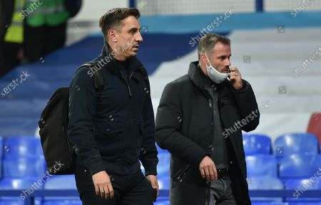 Stock Image of Tv pundits Gary Neville (L) and Jamie Carragher, former players Manchester United and Liverpool respectively, leave the stadium after the English Carabao Cup second round match between Everton and Salford City in Liverpool, Britain, 16 September 2020. Everton won 3-0.