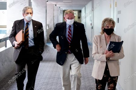Stock Photo of Republican Senators John Kennedy (L) of Louisiana, Richard Burr (C) of North Carolina and Marsha Blackburn (R) of Tennessee; walk to a Republican luncheon on Capitol Hill in Washington, DC, USA, 16 September 2020. Negotiatons between Republican and Democratic leaders on a coronavirus stimulus package have stalled.