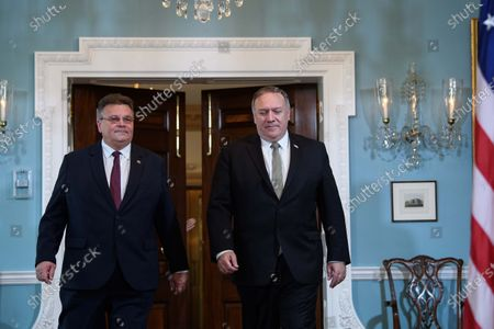 Secretary of State Mike Pompeo, right, and Lithuanian Foreign Minister Linas Linkevicius, walk out to a photo opportunity at the State Department, in Washington