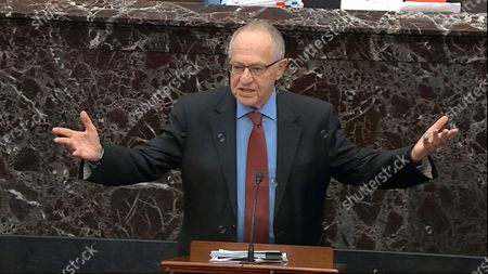 Stock Picture of In this Jan. 29, 2020 file image from video, Alan Dershowitz, an attorney for President Donald Trump, answers a question during the impeachment trial against Trump in the Senate at the U.S. Capitol in Washington. Dershowitz is suing CNN for $300 million, alleging that it libeled him through its editing of a comment he made defending President Donald Trump during his impeachment trial. The lawsuit was filed in South Florida