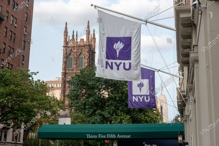 An exterior view of Rubin Hall at New York University which has been locked down after four freshmen tested positive for the coronavirus. NYU required the residents of the dormitory on 5th Avenue in Manhattan to quarantine from Saturday through at least through Tuesday night.