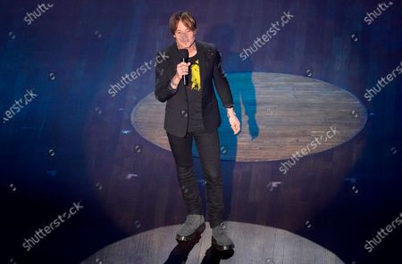 Keith Urban speaks during the 55th annual Academy of Country Music Awards at the Grand Ole Opry House, in Nashville, Tenn