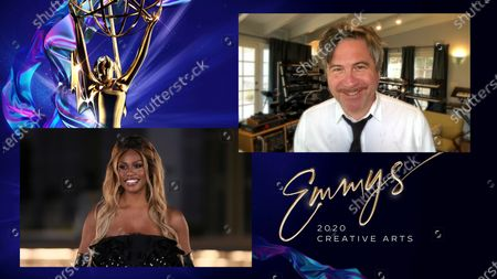"""Laverne Cox presents the Emmy for Outstanding Sound Editing For A Comedy Or Drama Series (One Hour) to David Klotz for """"Stranger Things"""" for """"Chapter Eight: The Battle Of Starcourt"""" during the third night of the 2020 Creative Arts Emmy Awards, streamed live on Emmys.com on"""