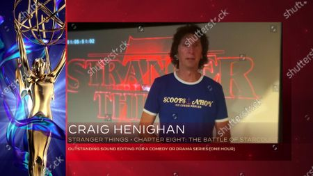 """Stock Photo of Craig Henighan accepts the Emmy for Outstanding Sound Editing For A Comedy Or Drama Series (One Hour) for """"Stranger Things"""" for """"Chapter Eight: The Battle Of Starcourt"""" during the third night of the 2020 Creative Arts Emmy Awards, streamed live on Emmys.com on"""