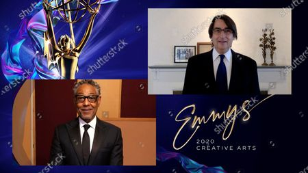 """Giancarlo Esposito presents the Emmy for Outstanding Single-Camera Picture Editing For A Limited Series Or Movie to Henk Van Eeghen for """"Watchmen"""" for """"A God Walks In To Abar,"""" one of 4 Emmy wins for """"Watchmen,"""" during the third night of the 2020 Creative Arts Emmy Awards, streamed live on Emmys.com on"""