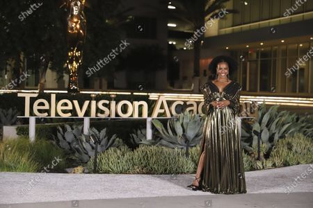 Brandee Evans presents the Emmy for Outstanding Period Costumes during the third night of the 2020 Creative Arts Emmy Awards, streamed live on Emmys.com on