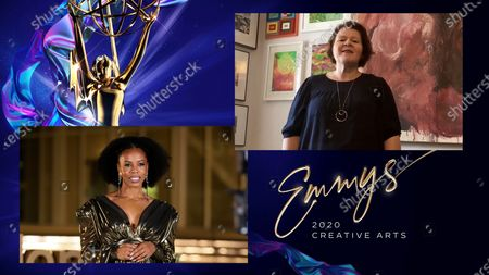 """Brandee Evans presents the Emmy for Outstanding Fantasy/Sci-Fi Costumes to Sarah Moore for """"The Crown"""" for """"Cri De Coeur"""" during the third night of the 2020 Creative Arts Emmy Awards, streamed live on Emmys.com on"""