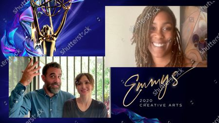 """Stock Photo of Bobby Cannavale and Rose Byrne present the Emmy for Outstanding Contemporary Hairstyling to Araxi Lindsey for """"black-ish"""" for """"Hair Day"""" during the third night of the 2020 Creative Arts Emmy Awards, streamed live on Emmys.com on"""