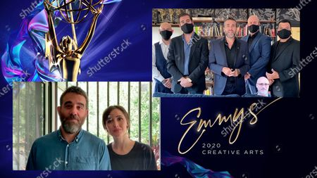 "Bobby Cannavale and Rose Byrne present the Emmy for Outstanding Prosthetic Makeup For A Series, Limited Series, Movie Or Special to Alexei Dmitriew, Vincent Van Dyke, James Robert Mackinnon, Richard Redlefsen, Michael Ornelaz and a cardboard cutout of Neville Page for ""Star Trek: Picard"" for ""Absolute Candor"" during the third night of the 2020 Creative Arts Emmy Awards, streamed live on Emmys.com on"