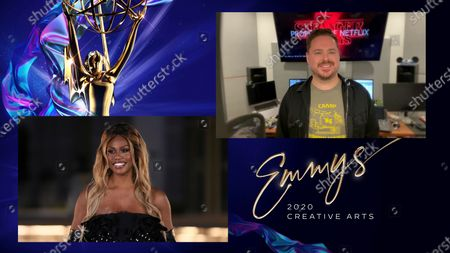 """Laverne Cox presents the Emmy for Outstanding Sound Editing For A Comedy Or Drama Series (One Hour) to William Files for """"Stranger Things"""" for """"Chapter Eight: The Battle Of Starcourt"""" during the third night of the 2020 Creative Arts Emmy Awards, streamed live on Emmys.com on"""