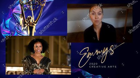 """Brandee Evans presents the Emmy for Outstanding Fantasy/Sci-Fi Costumes to Sidonie Roberts for """"The Crown"""" for """"Cri De Coeur"""" during the third night of the 2020 Creative Arts Emmy Awards, streamed live on Emmys.com on"""