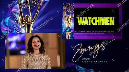 """Stock Image of Monica Raymund presents the Emmy for Outstanding Cinematography For A Limited Series Or Movie to Gregory Middleton for """"Watchmen"""" for """"This Extraordinary Being,"""" one of 4 Emmy wins for """"Watchmen,"""" during the third night of the 2020 Creative Arts Emmy Awards, streamed live on Emmys.com on"""