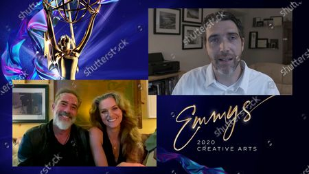 """Jeffrey Dean Morgan and Hilarie Burton present the Emmy for Outstanding Special Visual Effects In A Supporting Role to Dominic Remane for """"Vikings"""" for """"The Best Laid Plans"""" during the third night of the 2020 Creative Arts Emmy Awards, streamed live on Emmys.com on"""