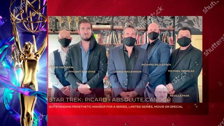 """Stock Image of Alexei Dmitriew, from left, Vincent Van Dyke, James Robert Mackinnon, Richard Redlefsen, Michael Ornelaz and a cardboard cutout of Neville Page accept the Emmy for Outstanding Prosthetic Makeup For A Series, Limited Series, Movie Or Special for """"Star Trek: Picard"""" for """"Absolute Candor"""" during the third night of the 2020 Creative Arts Emmy Awards, streamed live on Emmys.com on"""