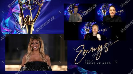 "Stock Picture of Laverne Cox presents the Emmy for Outstanding Sound Editing For A Comedy Or Drama Series (Half-Hour) And Animation to Bonnie Wild, David Acord and Matthew Wood for ""The Mandalorian"" for ""Chapter 1: The Mandalorian,"" one of 5 Emmy wins for ""The Mandalorian,"" during the third night of the 2020 Creative Arts Emmy Awards, streamed live on Emmys.com on"