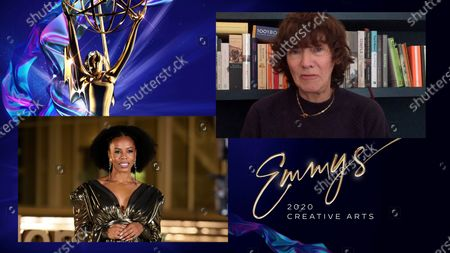 """Brandee Evans presents the Emmy for Outstanding Fantasy/Sci-Fi Costumes to Amy Roberts for """"The Crown"""" for """"Cri De Coeur"""" during the third night of the 2020 Creative Arts Emmy Awards, streamed live on Emmys.com on"""