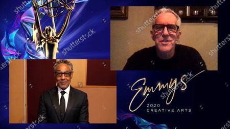 """Giancarlo Esposito presents the Emmy for Outstanding Single-Camera Picture Editing For A Drama Series to Bill Henry for """"Succession"""" for """"This Is Not For Tears"""" during the third night of the 2020 Creative Arts Emmy Awards, streamed live on Emmys.com on"""