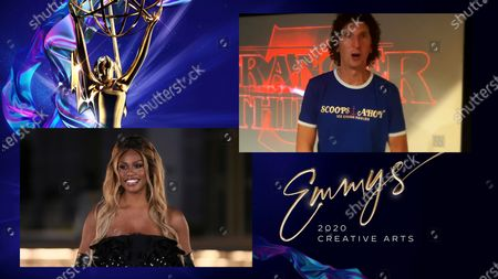"""Laverne Cox presents the Emmy for Outstanding Sound Editing For A Comedy Or Drama Series (One Hour) to Craig Henighan for """"Stranger Things"""" for """"Chapter Eight: The Battle Of Starcourt"""" during the third night of the 2020 Creative Arts Emmy Awards, streamed live on Emmys.com on"""