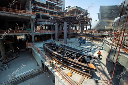 Overall, shows the central plaza under construction atThe Grand, a $1 billion high-rise mixed use complex on Bunker Hill, located across the street from the Walt Disney Concert Hall. (Mel Melcon / Los Angeles Times)