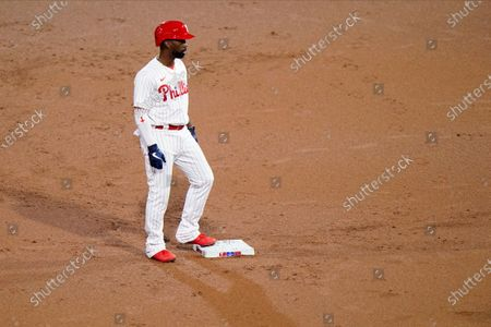 Philadelphia Phillies' Andrew McCutchen plays during a baseball game against the New York Mets, in Philadelphia