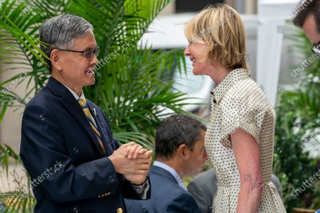 Ambassador to the United Nations Kelly Craft, right, meets James K.J. Lee, director-general of the Taipei Economic and Cultural Office in New York, for lunch at a restaurant in Midtown Manhattan