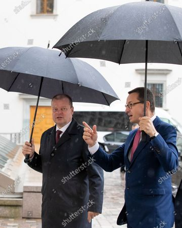 Lithuania's Prime Minister Saulius Skvernelis, left, welcomes Poland's Prime Minister Mateusz Morawiecki prior to their meeting at the Palace of the Grand Dukes of Lithuania in Vilnius, Lithuania
