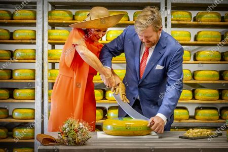 King Willem-Alexander and Queen Maxima of The Netherlands visits cheese farm De Deelen during the region visit to South East Friesland in Opsterland, The Netherlands