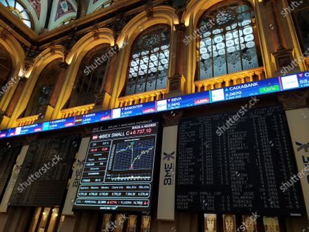 A view of the screens of the Madrid's Stock Exchange, in Madrid, Spain, 17 September 2020, that has fallen a 0,95 percent in the opening of the session.