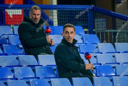 Sky pundits Gary Neville and Jamie Carragher before the game against Everton in the EFL cup