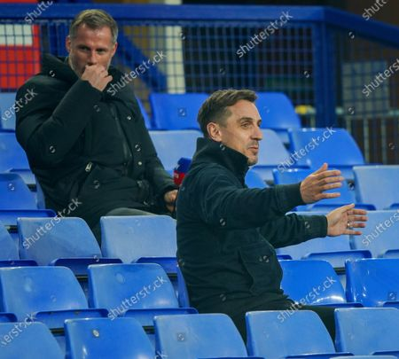 Stock Photo of Sky pundits Gary Neville and Jamie Carragher before the game against Everton in the EFL cup