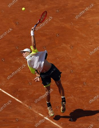 Denis Shapovalov of Canada in action during his second round match against Pedro Martinez of Spain at the Italian Open in Rome, Italy, 17 September 2020.