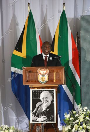 South African president Cyril Ramaphosa presents the eulogy during the funeral of George Bizos at the Hellenic Cultural Centre in Johannesburg, South Africa 17 September 2020.  The late human rights lawyer and activist George Bizos represented Nelson Mandela during the Rivonia Trial. He was honoured with a special official funeral followed by a burial at Westpark Cemetery after passing away 09 September 2020 at the age of 92.